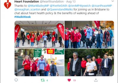 Heart Foundation post  twitter  Walk Week